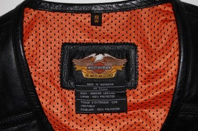 HARLEY DAVIDSON BLACK LEATHER EMBROIDERED MOTORCYCLE VEST WOMENS S