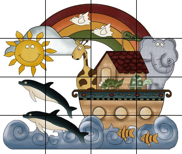 NOAHS ARK LARGE MURAL NURSERY BABY WALL STICKERS DECALS