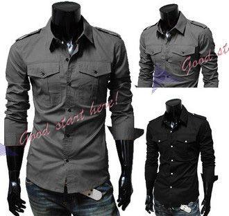 Mens Shirt Fashion Designer Military Slim Dress Shirts Western Style