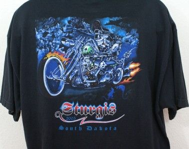 Mens Motorcycle Sturgis 2005 South Dakota Skull Harley Davidson Black