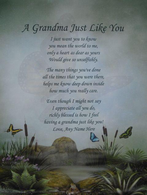 GRANDMA LIKE YOU PERSONALIZED POEM BIRTHDAY, CHRISTMAS OR MOTHERS