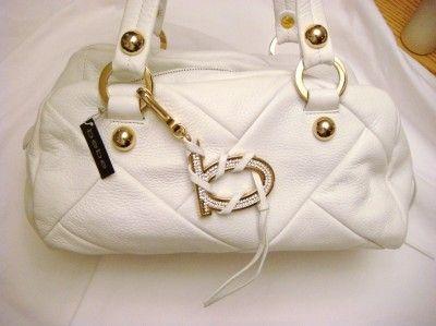 Quilted Leather Bag Rhinestone Logo Purse Satchel Handbag White