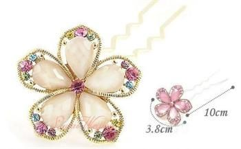 Hot Fashion Cute CRYSTAL FLOWER WEDDING BRIDAL HAIR PIN ts28