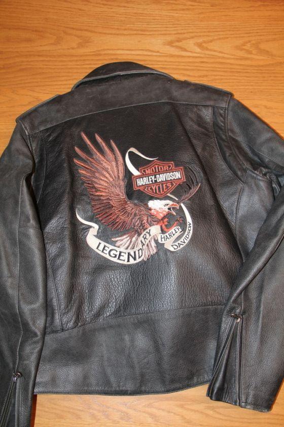 Harley Davidson Mens Classic Motorcycle Jacket. Gen Leather, Excellent
