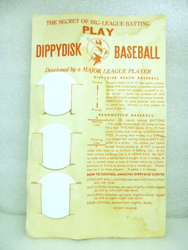 RARE VINTAGE BASEBALL PROTOTYPE DIPPYDISK THROWING GAME PRACTICE SKILL