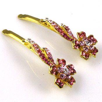 SHIPPING 2 Rhinestone crystal flower hair side clip pin wedding